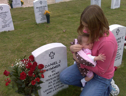 Daughter at gravestone