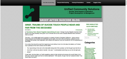 Grief after Suicide blog -- screenshot